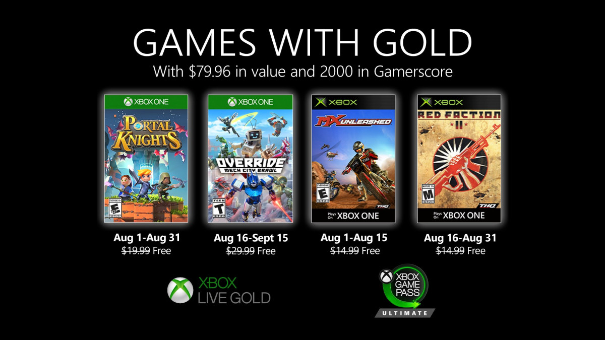 August 2020 Games With Gold